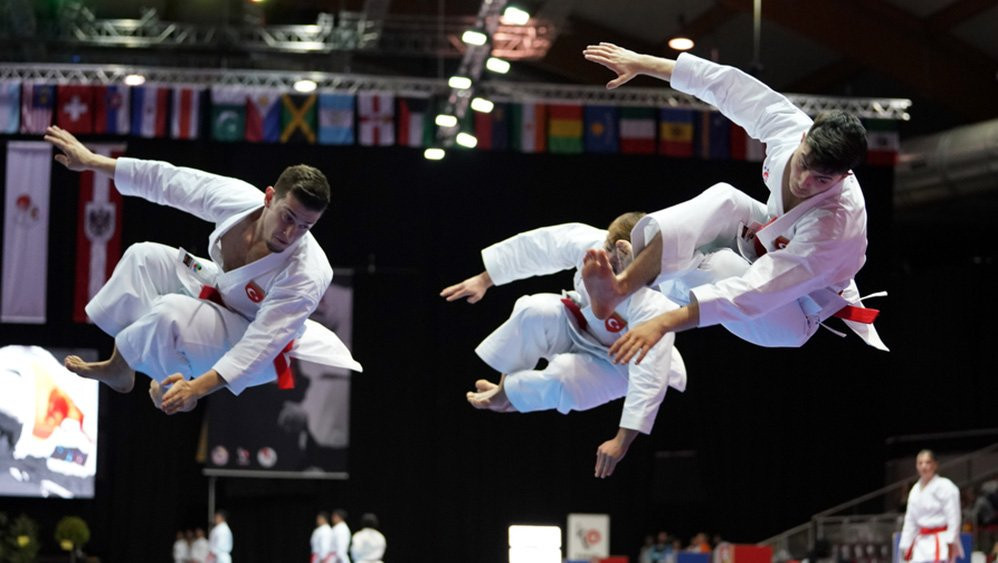 Turkey reached the men's team kata final and will take on Malaysia ©WKF