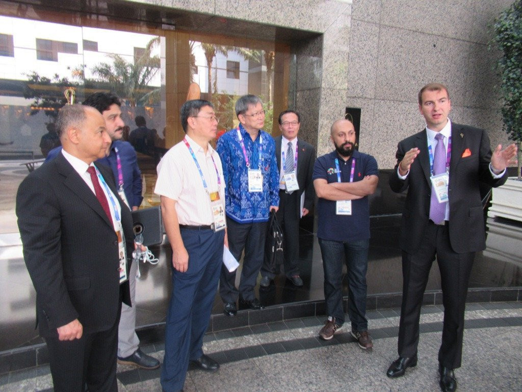 Teqball co-founder Viktor Huszár, right, explains the sport to Olympic Council of Asia officials in Jakarta last August, part of a process which led to it being officially recognised  ©OCA