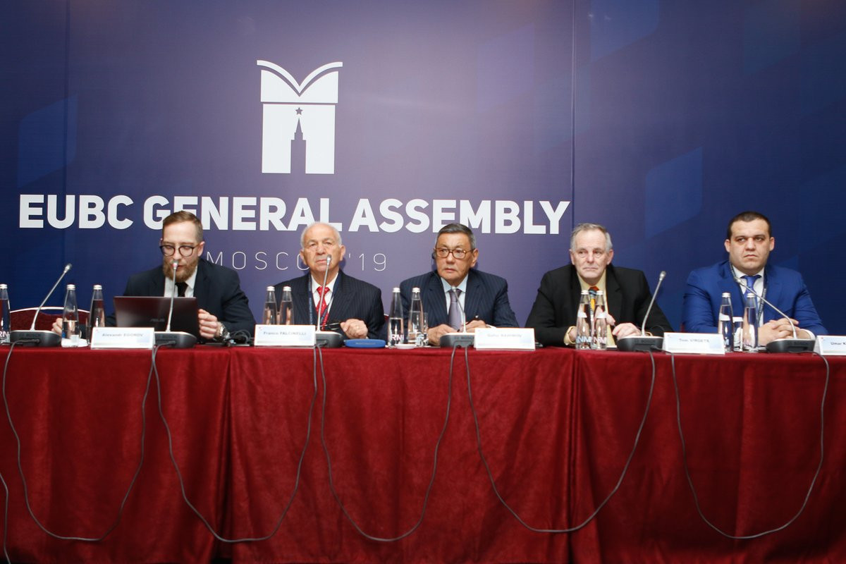 EUBC President Franco Falcinelli, second left, claimed his support for Gafur Rakhimov, centre, was the reason behind the members attacking him at the Congress in Moscow last weekend ©EUBC