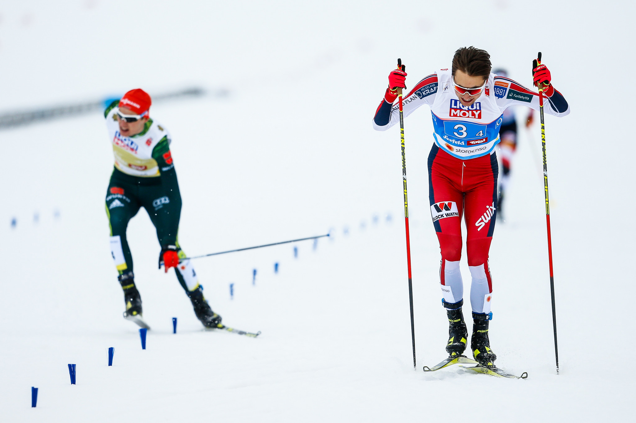 Jarl Magnus Riiber, right, emerged victorious in a sprint finish to secure the team Nordic combined gold for Norway ©Getty Images