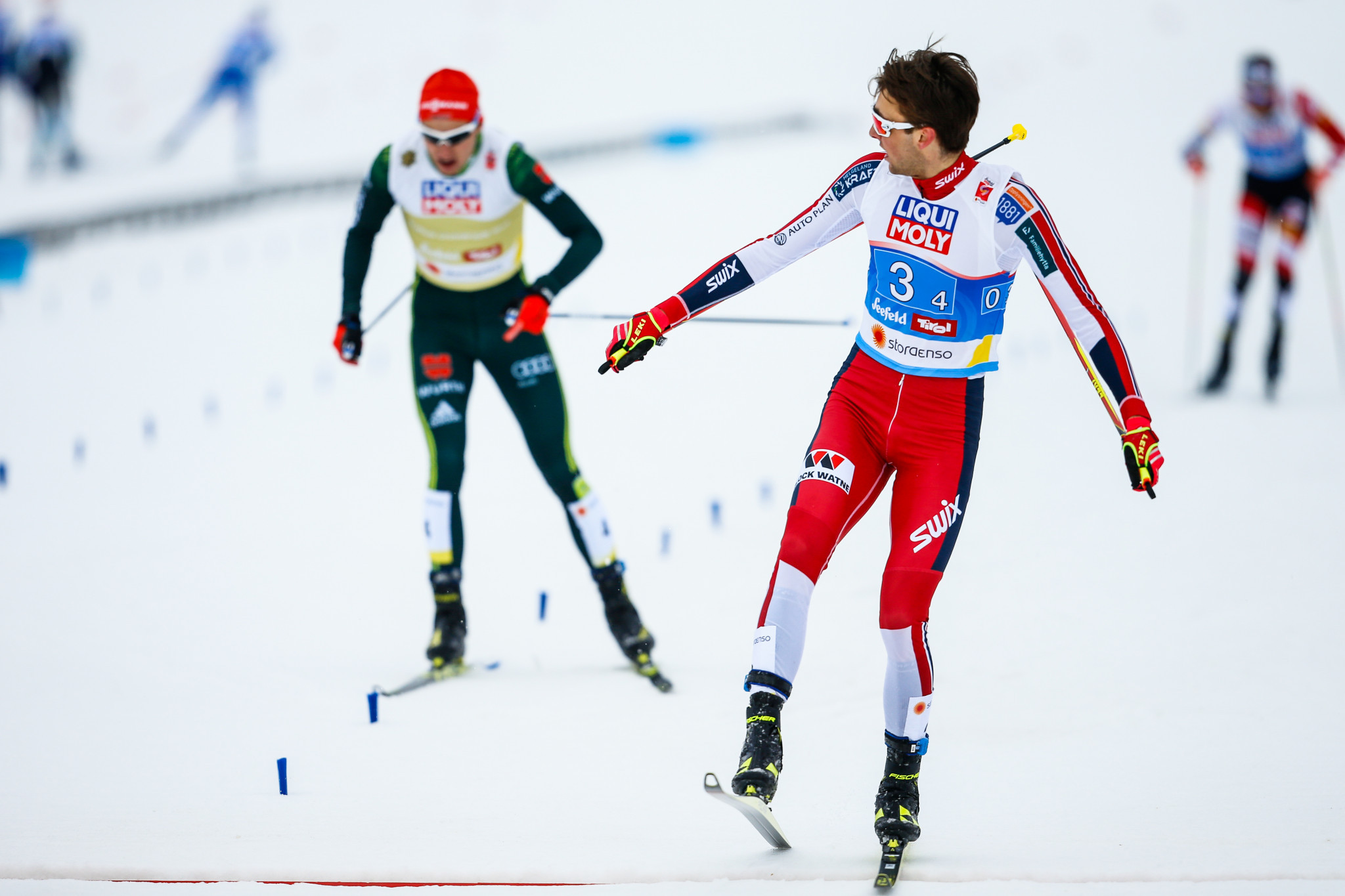 Jarl Magnus Riiber spearheaded Norway to the team Nordic combined title ©Getty Images