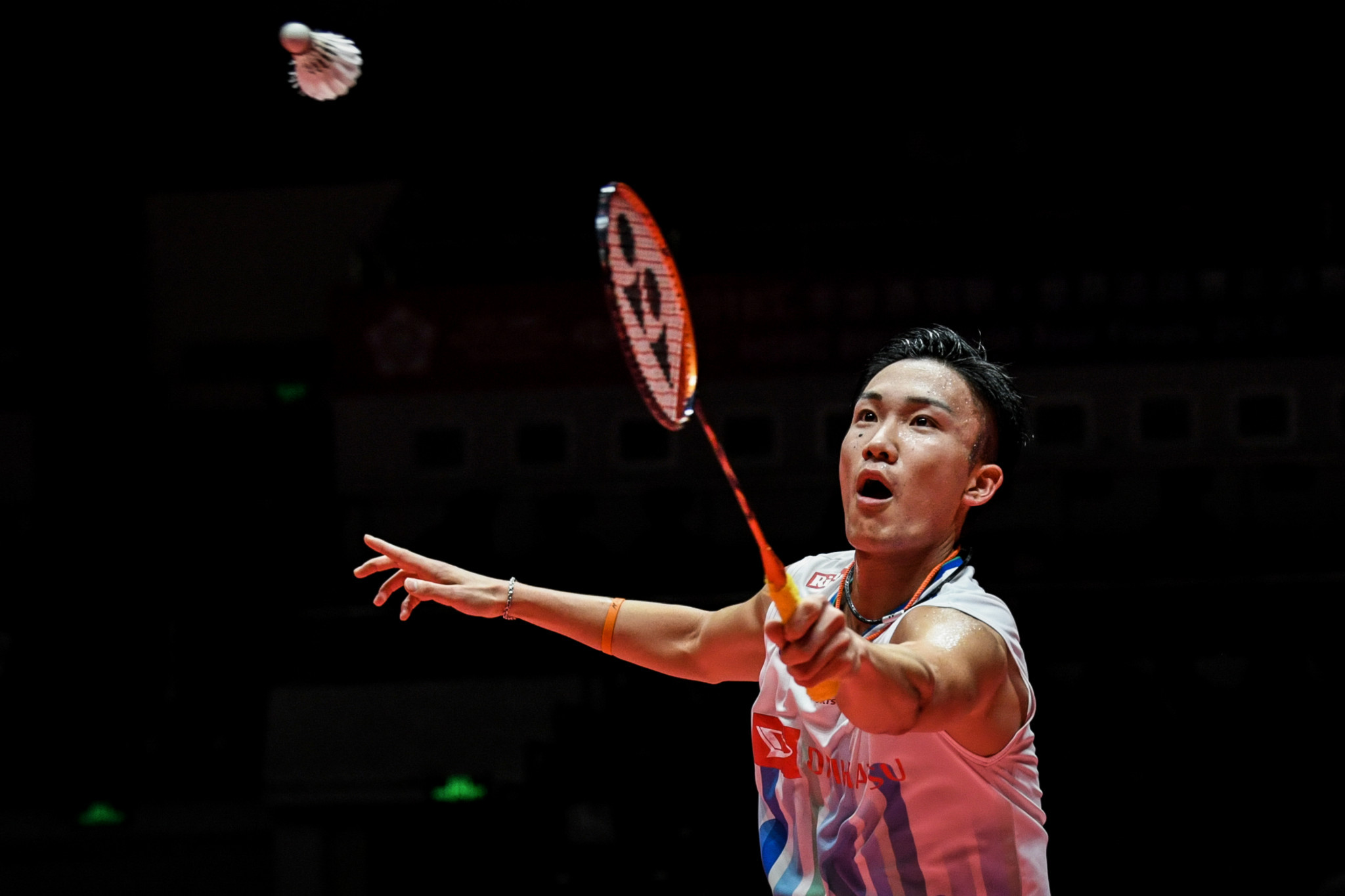 Japan's Kento Momota is one win away from triumphing in the men's singles event ©Getty Images