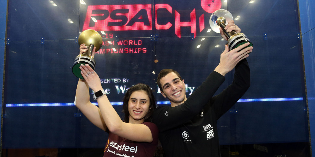 Ali Farag and Nour El Sherbini were crowned as champions after all-Egyptian finals today at the Professional Squash Association World Championships in Chicago ©PSA