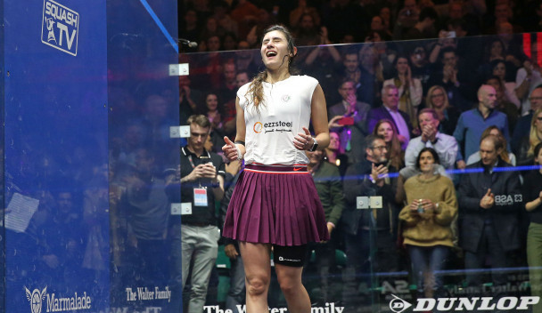 Nour El Sherbini has joined an elite club as a triple world champion ©PSA