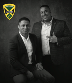 Dual-code rugby legend Jason Robinson, left, and media mogul Alex Simmons, right, have been appointed joint UK operations directors of the Jamaican Rugby League Association ©RLIF