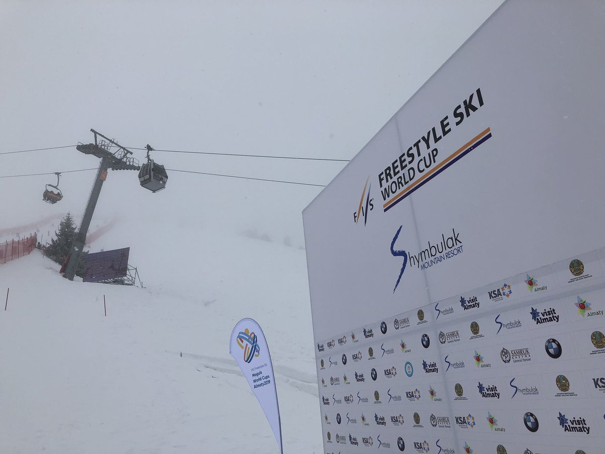 Today's scheduled dual events were cancelled due to bad weather as the 2018-2019 FIS Moguls World Cup season reached its conclusion at Shymbulak Mountain Resort in Kazakhstan ©FISfreestyle/Twitter