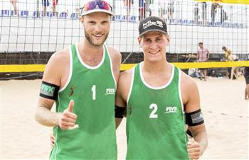 Armin Dollinger and Simon Kulzer of Germany secured their first International Volleyball Federation Beach World Tour gold medal ©FIVB