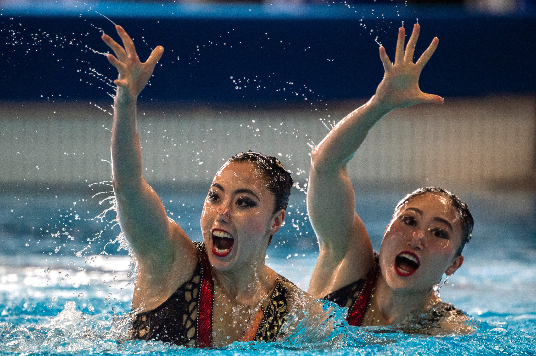 Yukiko Inui and Megumu Yoshida of Japan were silver medallists in the duet free competition ©Getty Images