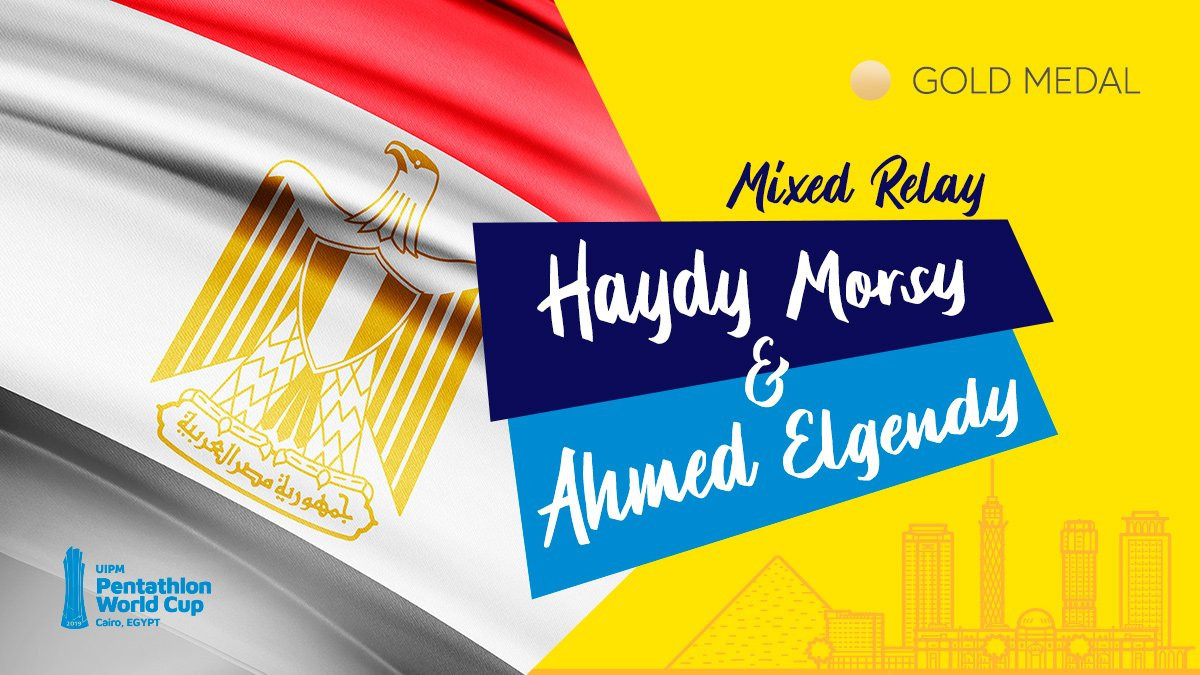 Egypt's Haydy Morsy partnered Ahmed Elgendy to victory in the mixed relay at the UIPM World Cup in Cairo ©UIPM