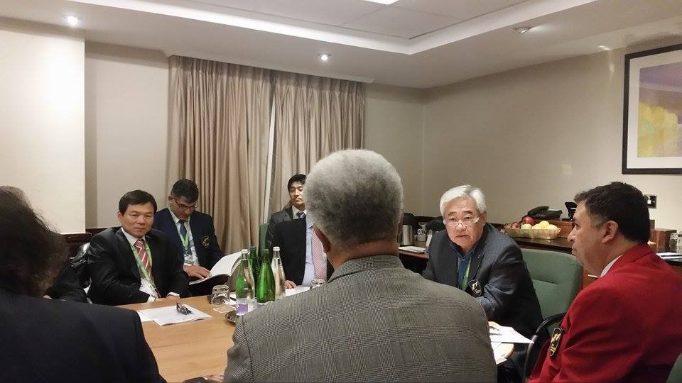 WTF President Chungwon Choue chairing a meeting of the WTF Humanitarian Foundation in Manchester ©ITG