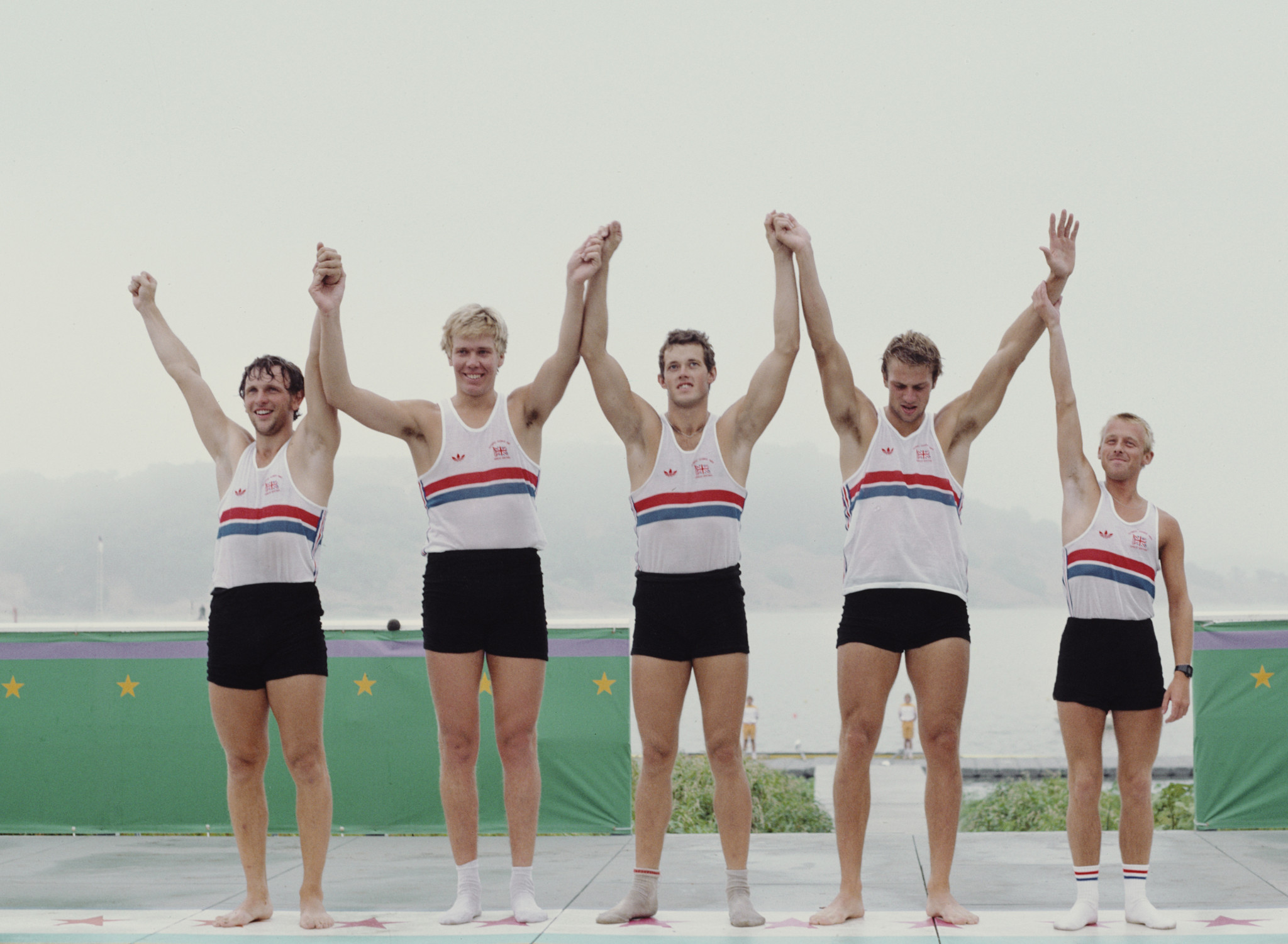 Steve Redgrave, second right, won the first of his five Olympic gold medals in Los Angeles ©Getty Images