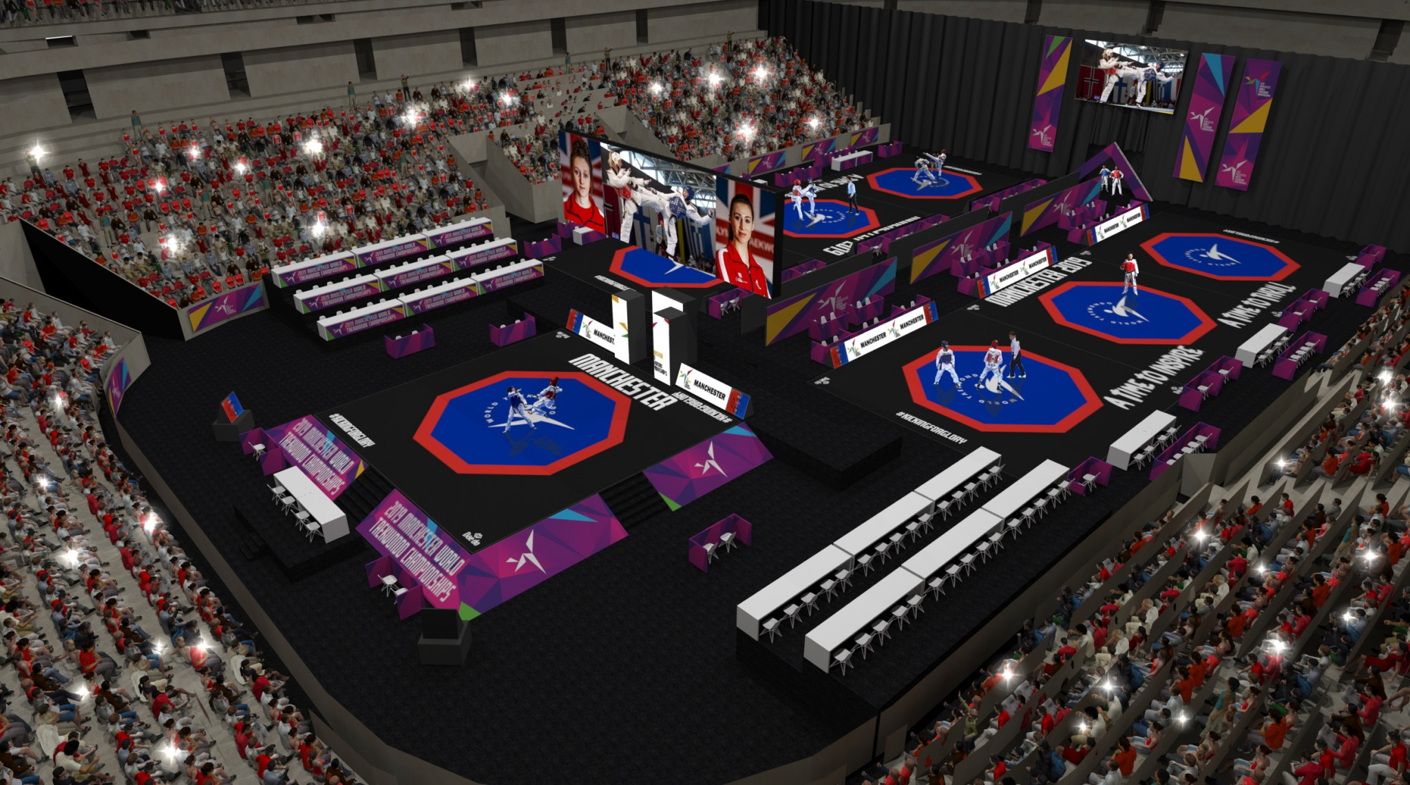 Seven courts will be set-up during day sessions ©World Taekwondo