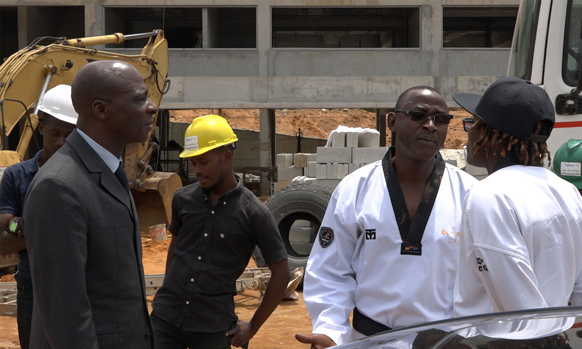 Ivory Coast taekwondo world champion Ruth Gbagbi visited the new facility being built for the sport in the African nation ©FITKD