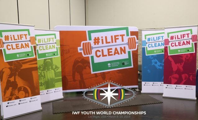 An iLiftClean stand has been set-up for the 2019 IWF Youth World Championships ©IWF
