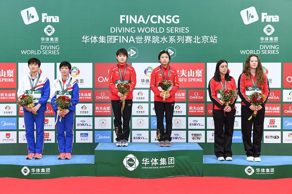 Zhang Jiaqi, gold medallist in last year's World Cup, claimed victory in her trademark event of the 10m synchro platform with a new partner, Lu Wei, at the FINA Diving World Series event in Beijing's Water Cube ©FINA