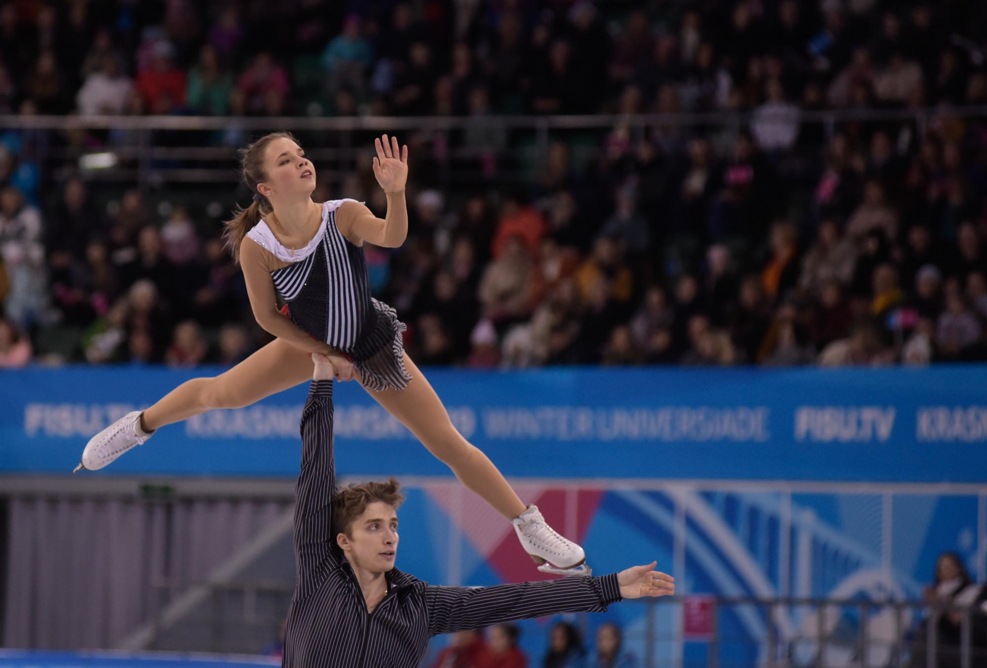 Russia's Alisa Efimova and Alexander Korovin won the pairs final of the Krasnoyarsk 2019 Winter Universiade ©Krasnoyarsk 2019