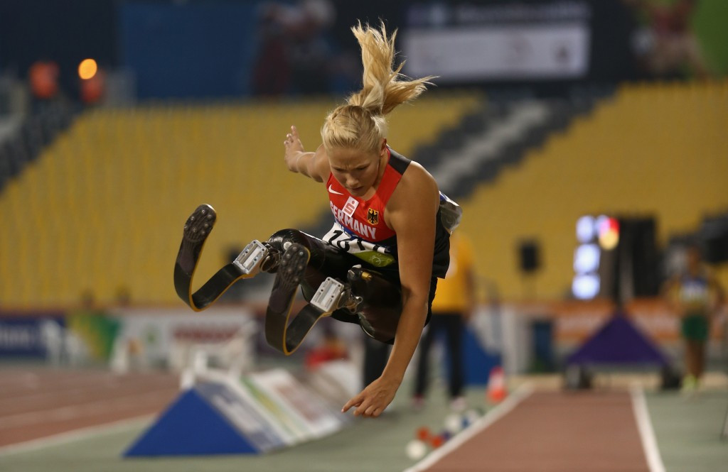 Germany's Vanessa Low broke the world record on two occasions on her way to claiming the women's T42 long jump title
