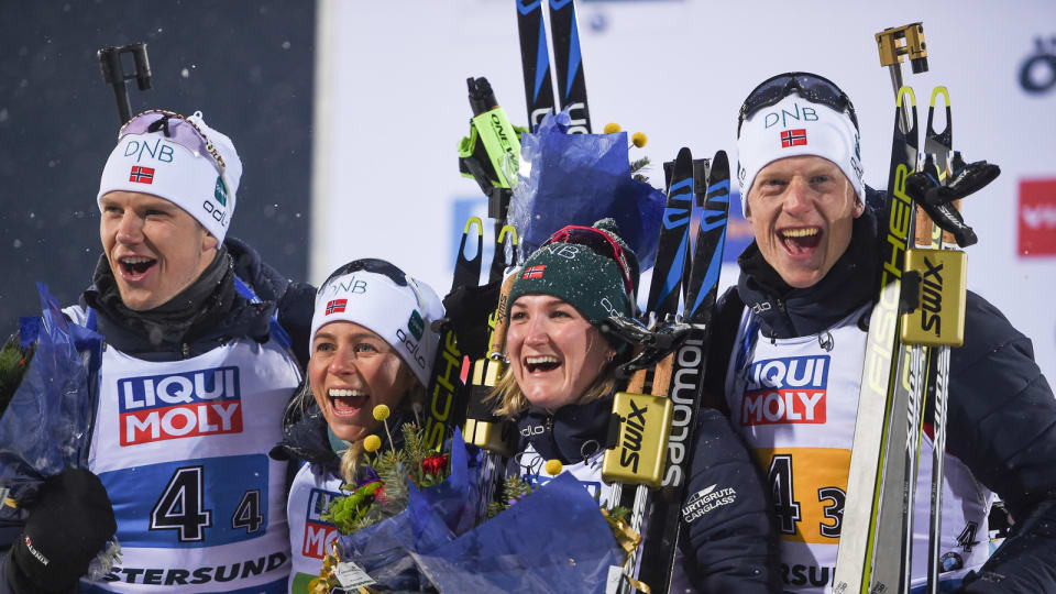 Norway pulled away in the last two legs of the mixed relay to claim the first gold medal of the IBU World Championships in Östersund in Sweden today ©IBU