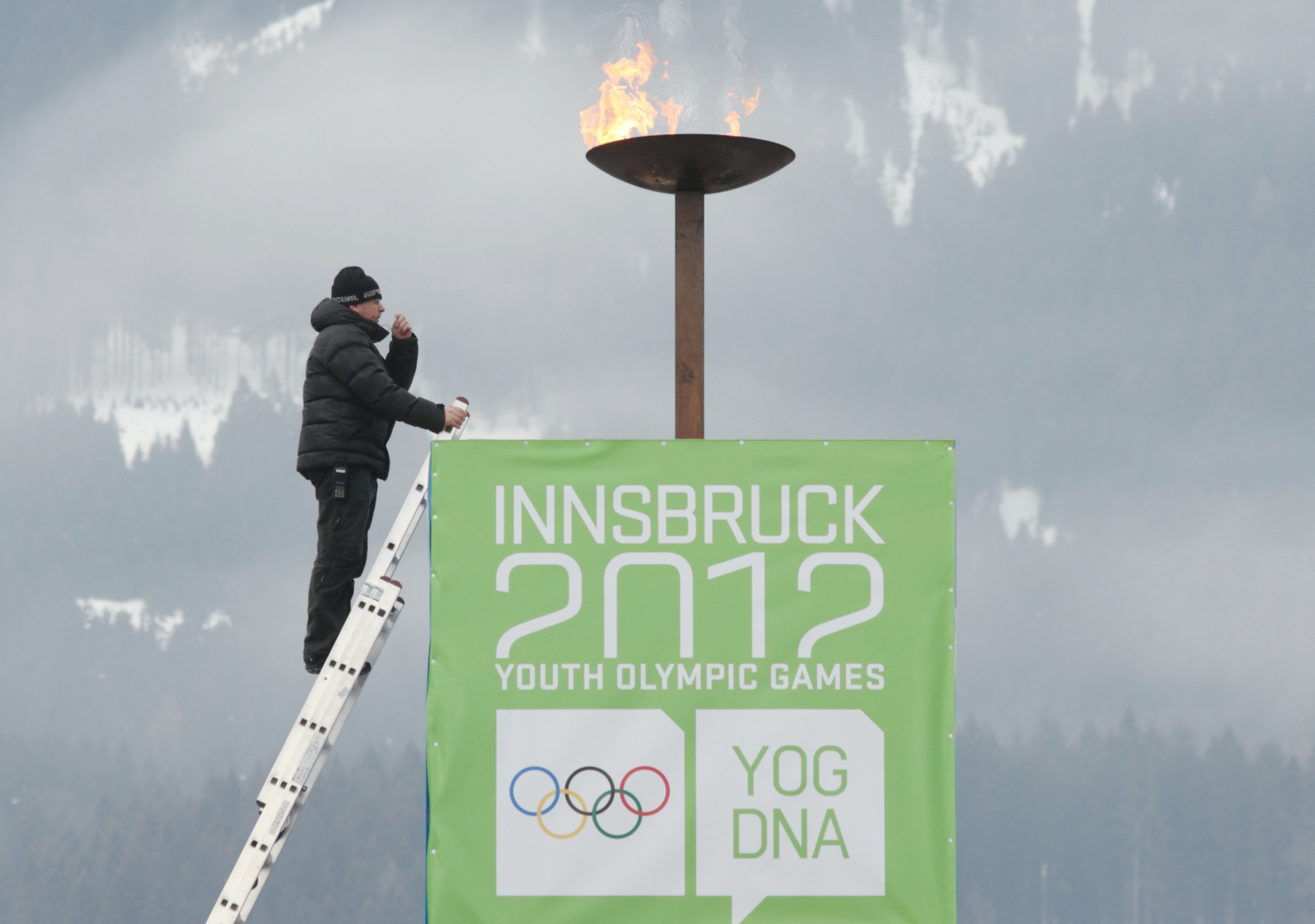 The flame burns at the first Winter Youth Olympic Games in Innsbruck ©Getty Images