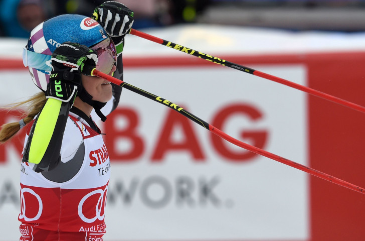 Mikaela Shiffrin, the overall World Cup winner, was unable to confirm a first victory in the giant slalom category today after finishing third at the World Cup in Špindlerův Mlýn ©Getty Images