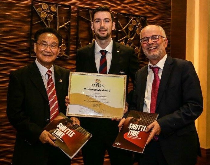 "BWF receive TAFISA Sustainability Award for ""Shuttle Time"" programme"