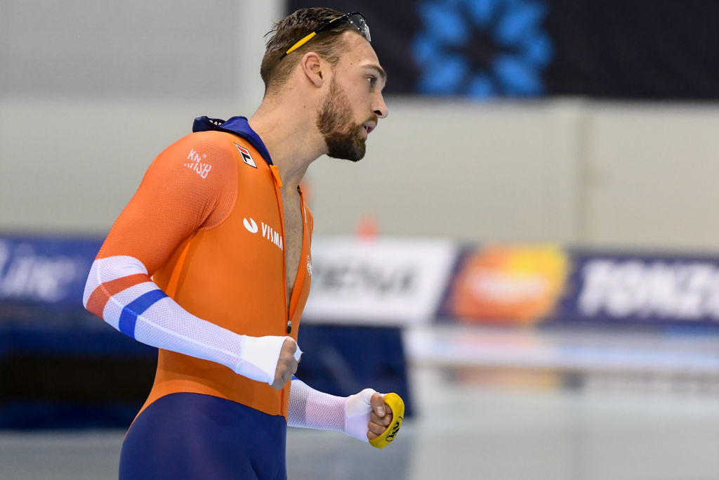 Kjeld Nuis of The Netherlands set a men's 1,000m world record in Utah ©ISU