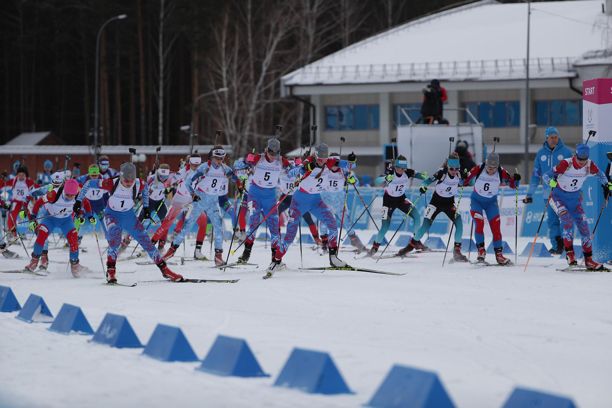 Russia secured a clean sweep in the women's biathlon mass start event at the Krasnoyarsk 2019 Winter Universiade ©Krasnoyarsk 2019