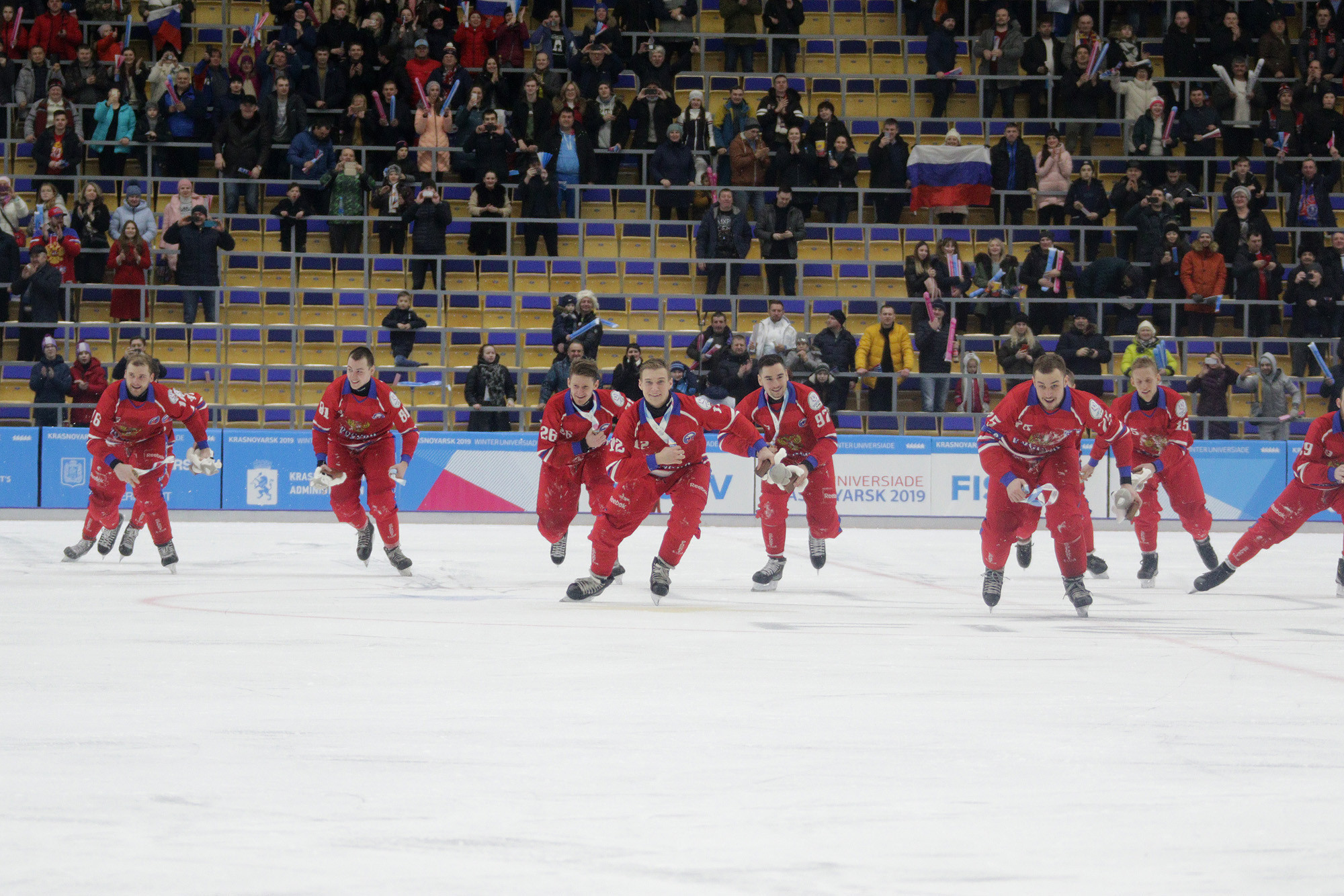The Russian celebrated with the home crowd in the Yenisei Stadium ©Krasnoyarsk 2019