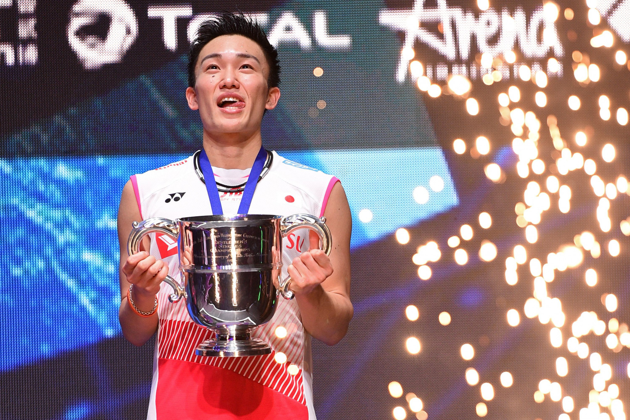Japan's reigning world champion Kento Momota won a maiden All England Open Badminton Championships title ©Getty Images