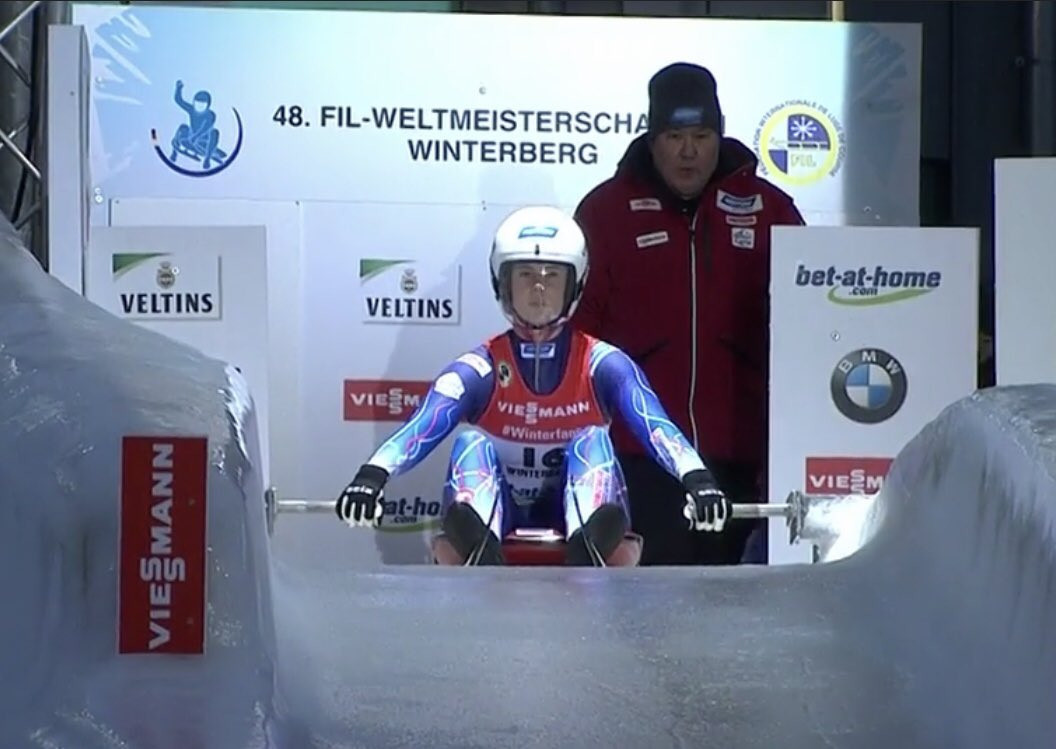 Bucket List Events organised a trip for supporters of USA Luge to this year's World Championships in Winterberg in Germany where the United States' Emily Sweeney won a bronze medal ©Twitter