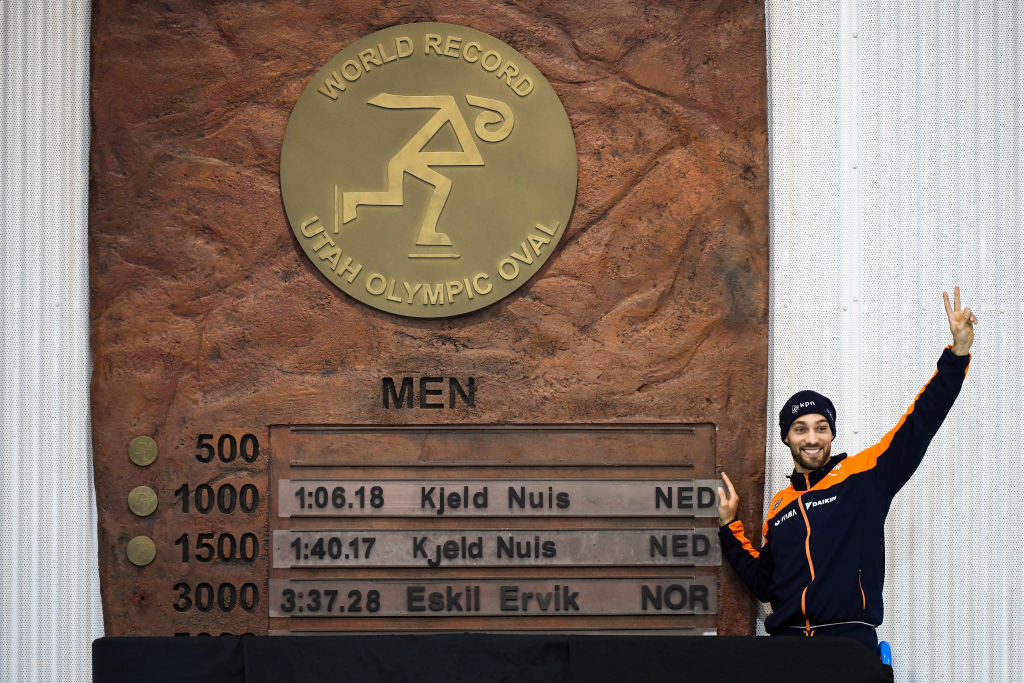 Kjeld Nuis of The Netherlands added a world 1,500m record to the 1,000m record he set yesterday in the ISU Speed Skating World Cup Final at the Utah Olympic Oval in Salt Lake City ©ISU