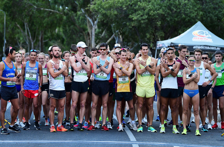 Walkers cross arms before the start in protest of the proposed dropping of the 50km walk during the 20km Oceania Race Walking Championships in Adelaide last month ©Getty Images