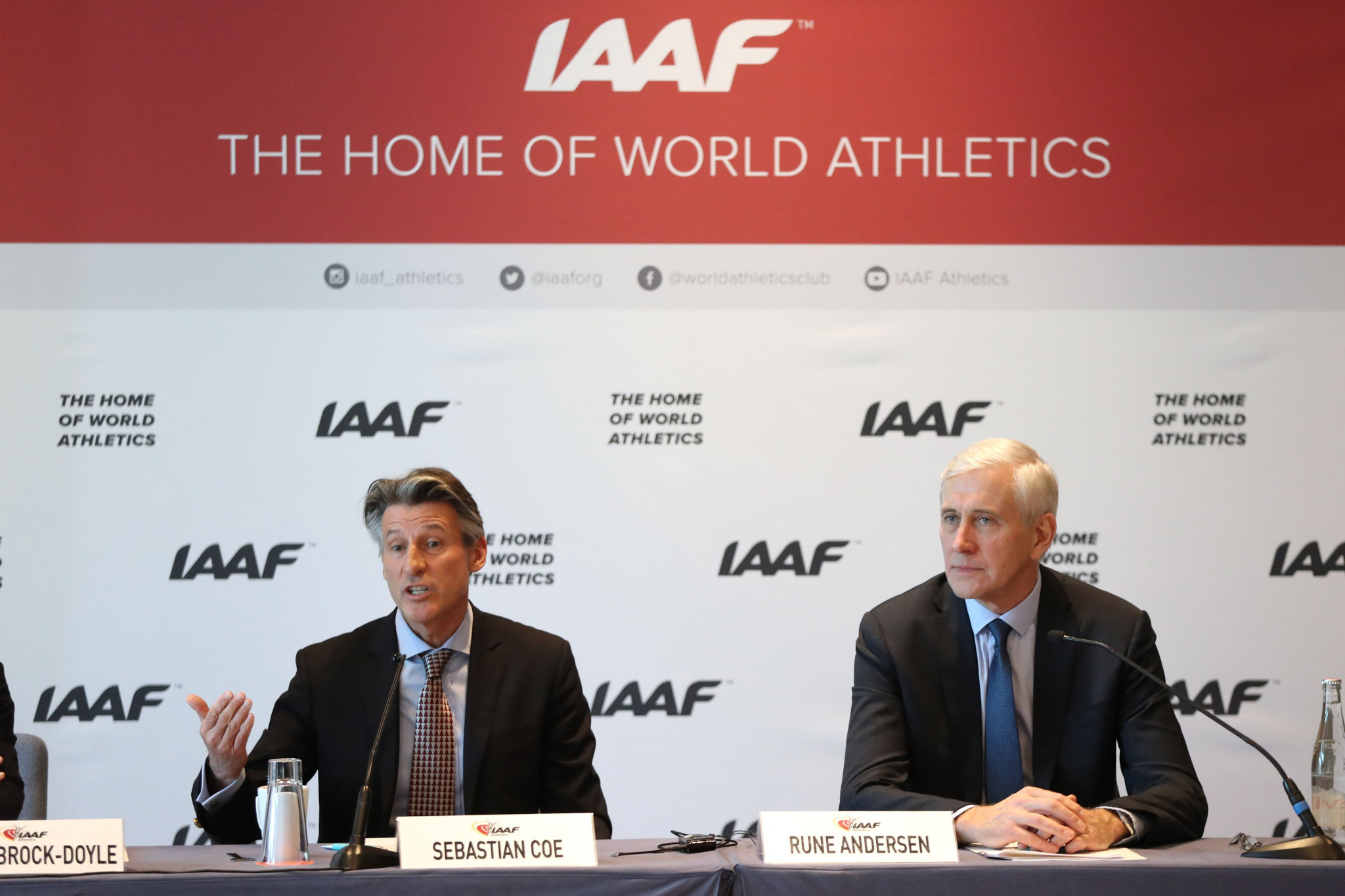Rune Andersen, right, chair of the IAAF Task Force, has requested a new, urgent meeting with the suspended Russian Athletics Federation ©Getty Images
