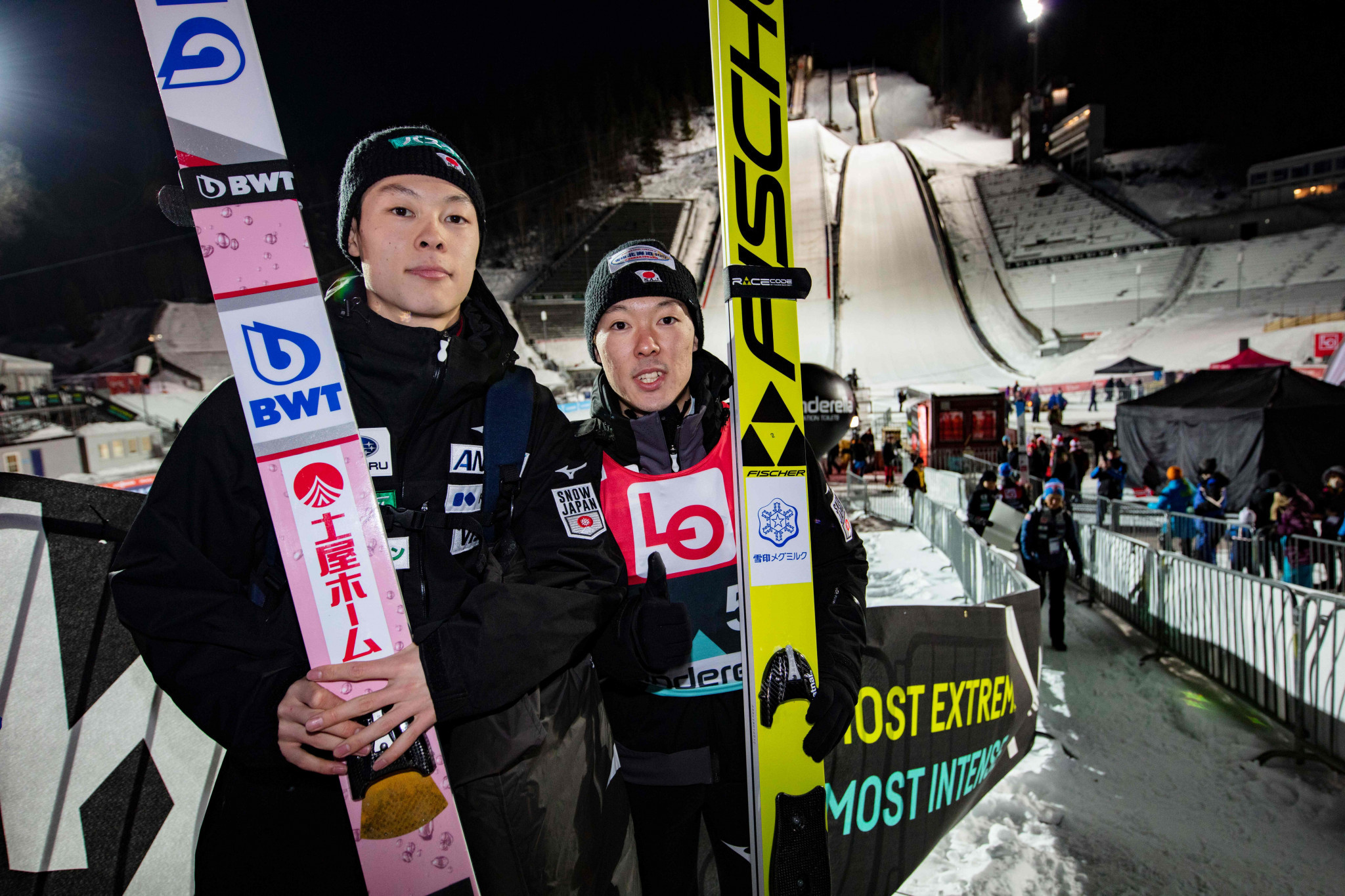 Japan's Kobayashi brothers occupied the top two spots in qualifying as the International Ski Federation Ski Jumping World Cup continued with the latest leg of the Raw Air Tournament in Lillehammer ©Getty Images
