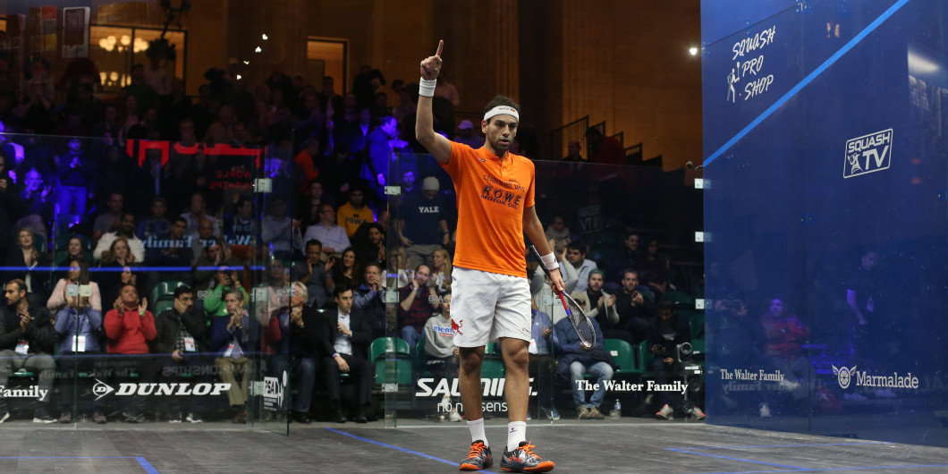 Mohamed Elshorbagy made a winning start at the PSA Canary Wharf Classic ©PSA