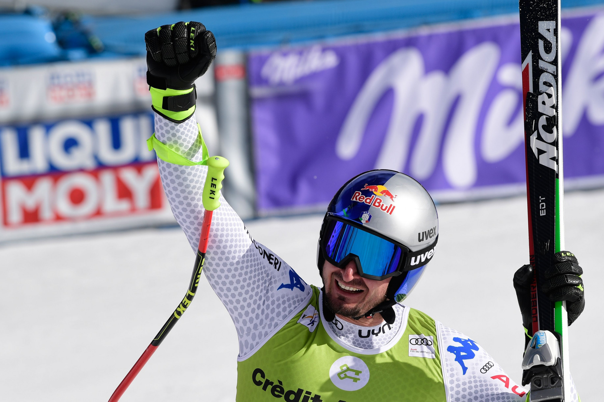 Dominik Paris won today's downhill and could wrap up the overall super-G title tomorrow ©Getty Images