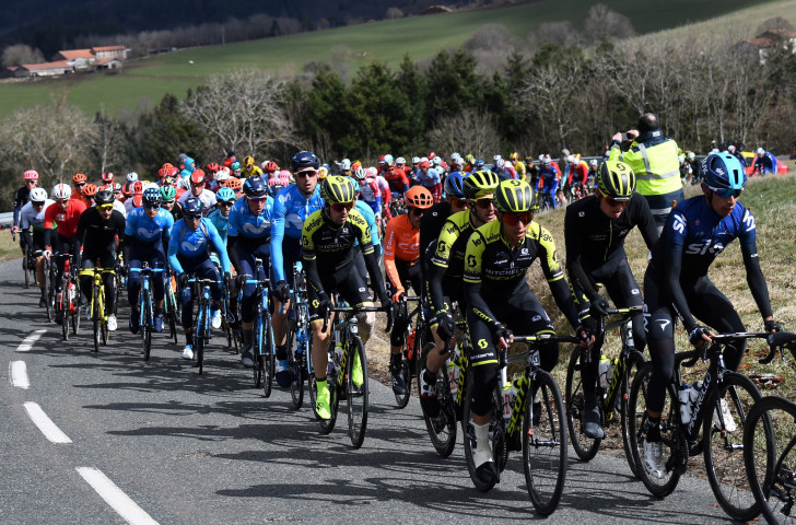 The pack en-route in the fourth stage of the Paris-Nice race today ©Getty Images