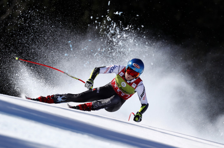 Mikaela Shiffrin of the United States en-route to overall World Cup victory in the super-G event at the FIS Alpine Skiing World Cup Finals in Soldeu, Andorra today ©Getty Images