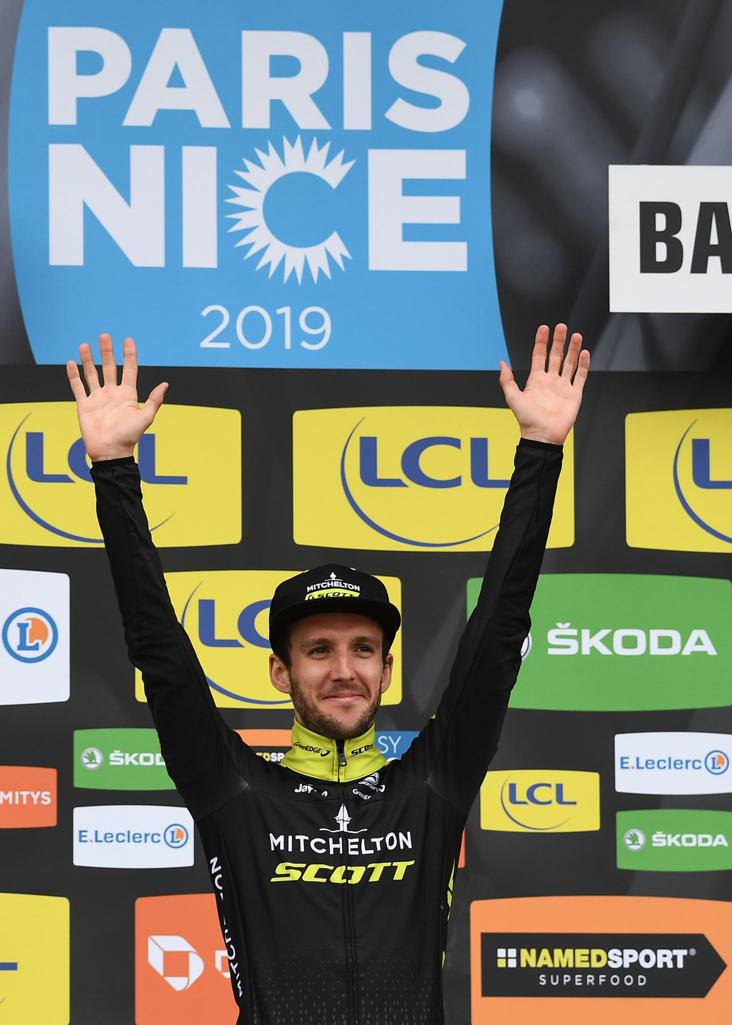 Simon Yates celebrates his time trial win on the fifth stage of the Paris-Nice race ©Getty Images