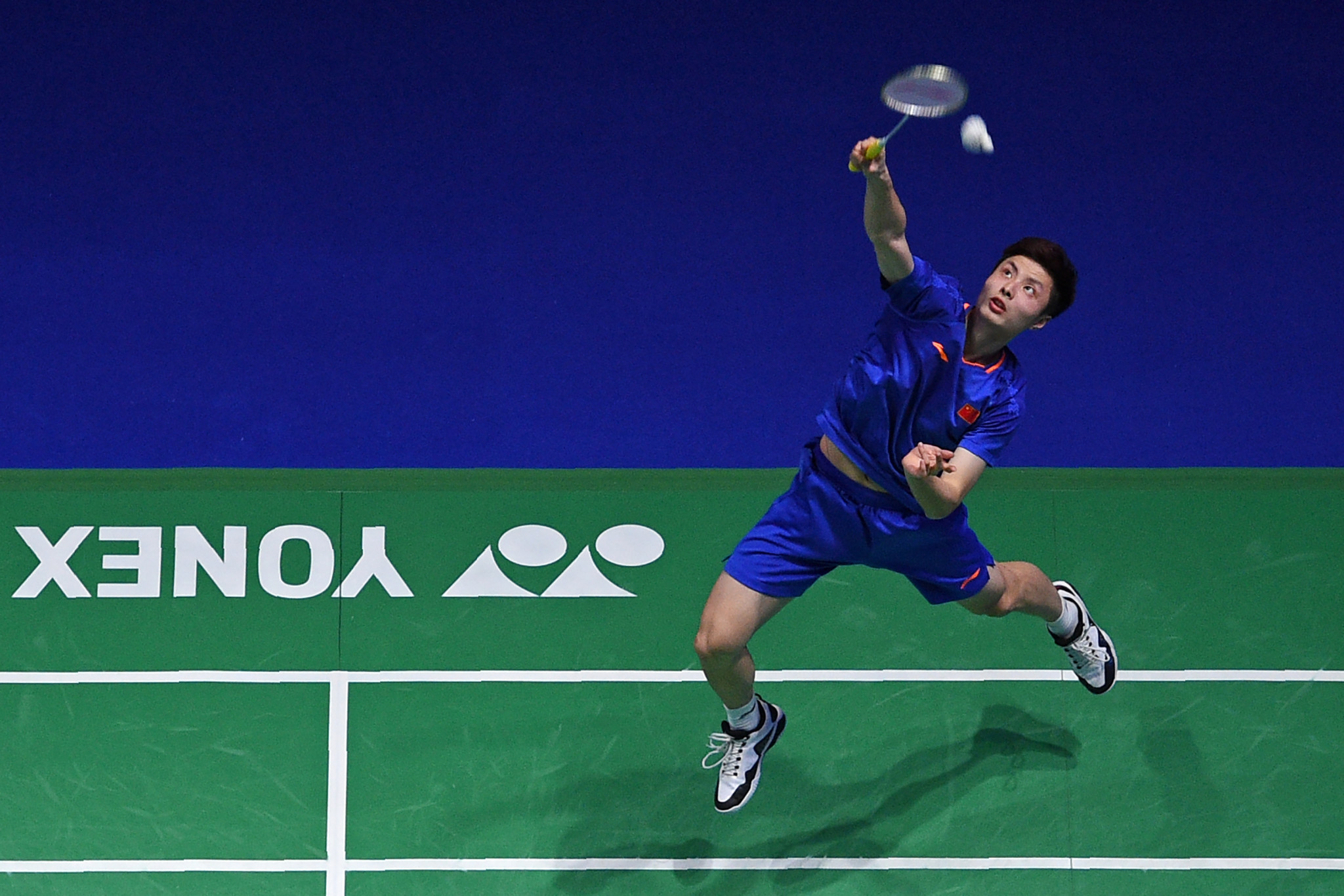 Men's top seed Shi Yuqi struggled for the second day in a row but eventually prevailed in three games ©Getty Images