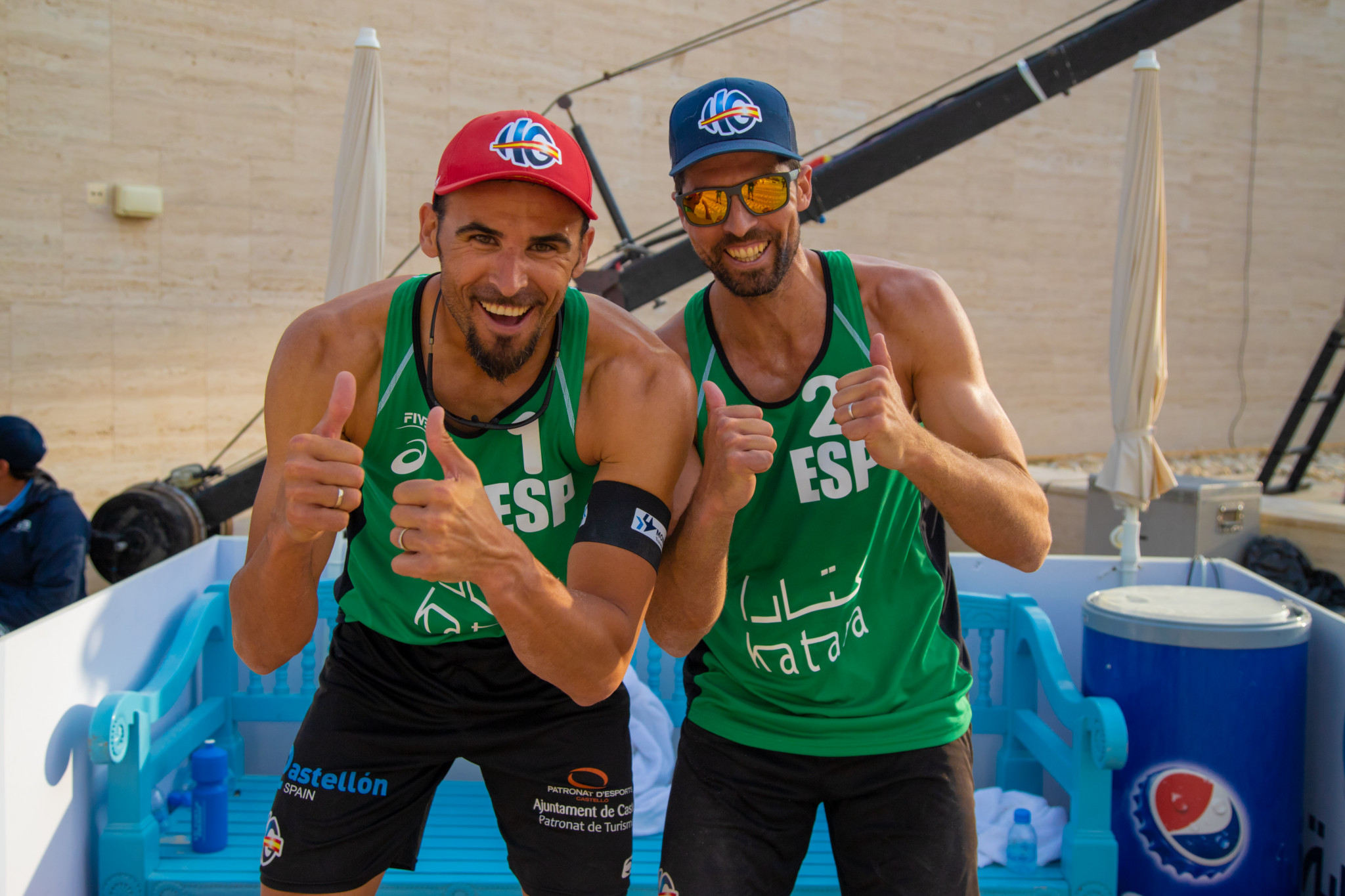 Spain's Pablo Herrera and Adrian Gavira have reached the quarter-finals at the FIVB Beach Volleyball World Tour event in Doha ©FIVB