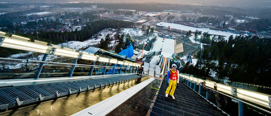 The IOC Evaluation Commission visited the  Lugnet National Ski Stadium in Falun, where ski jumping and Nordic combined would be held if the bid from Stockholm Åre 2026 is awarded the Olympic Games ©Falun Municipality