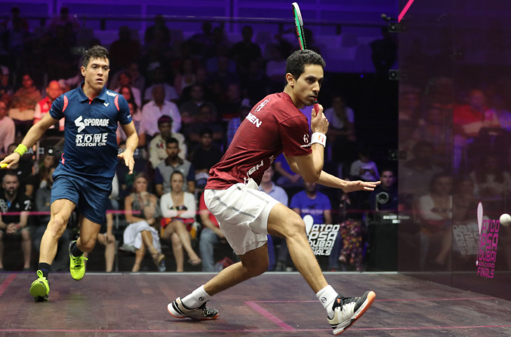 Egypt's Tarek Momen, right, earned revenge today for last year's defeat in the PSA Canary Wharf Classic as he beat fellow countryman and defending champion Mohamed Elshorbagy ©Getty Images