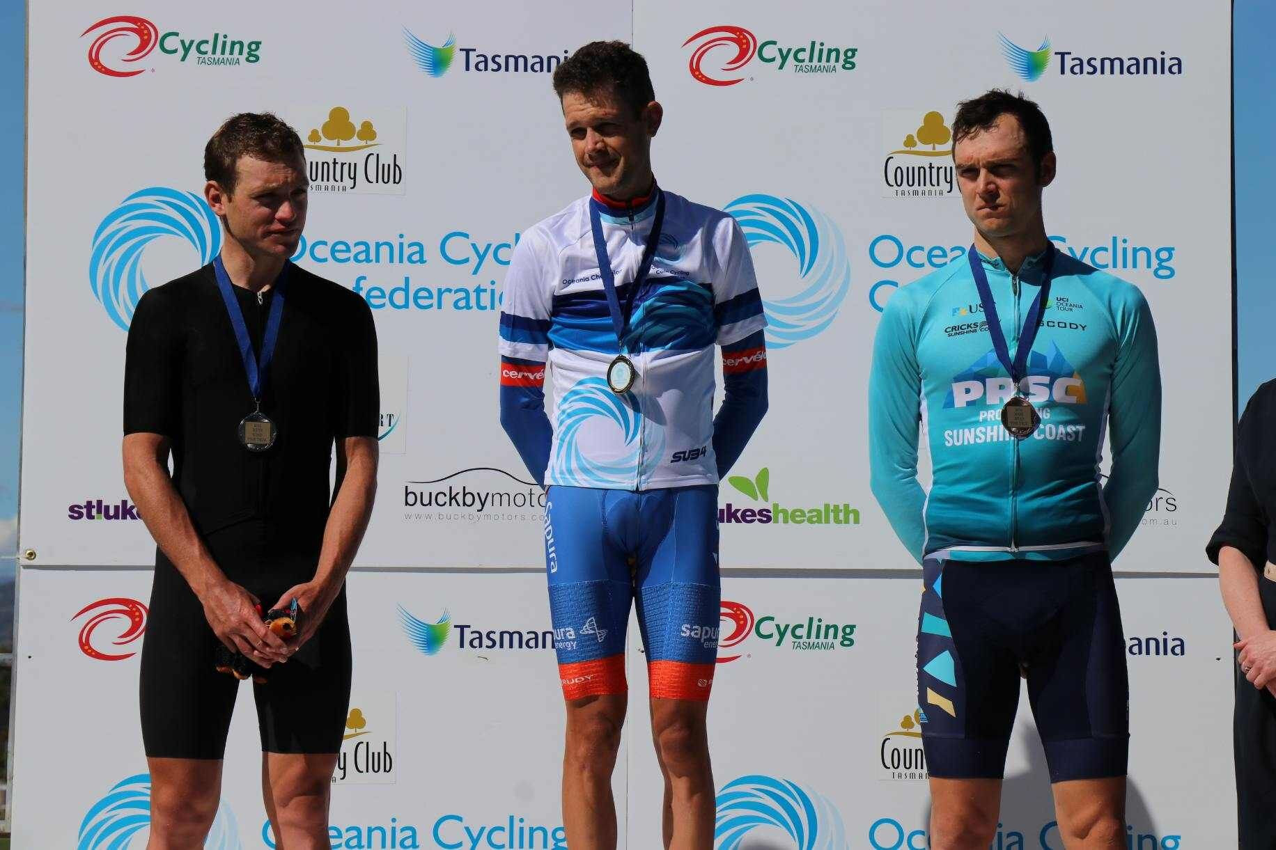 Benjamin Dyball was one of hosts Australia's five gold medallists on the opening day of the 2019 Oceania Road Championships in Tasmania, winning the elite men's time trial event ©Caitlin Johnston
