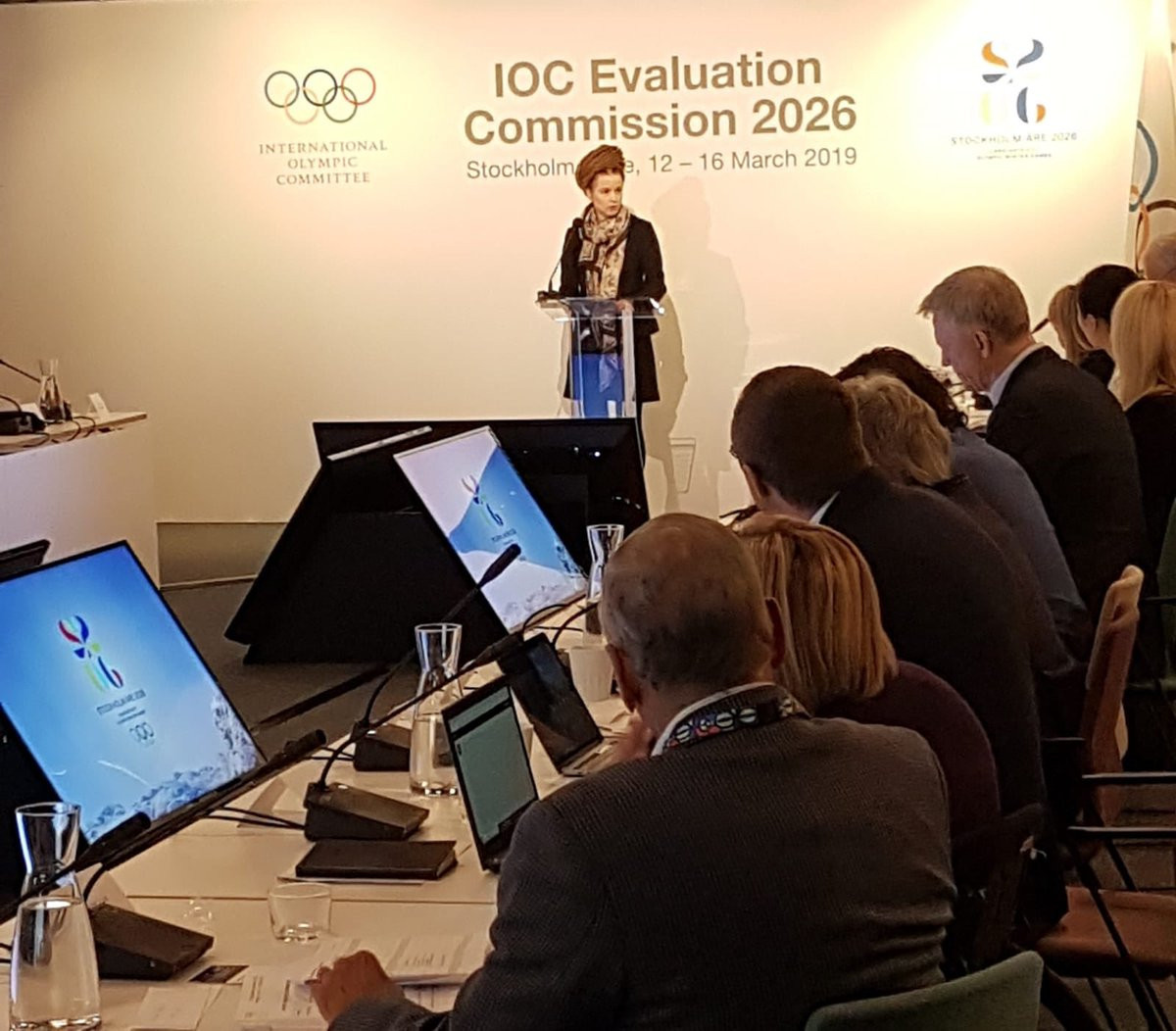Sweden's Minister of Culture and Sport Amanda Lind addressed the IOC Evaluation Commission today during their inspection of Stockholm Åre 2026 ©IOC