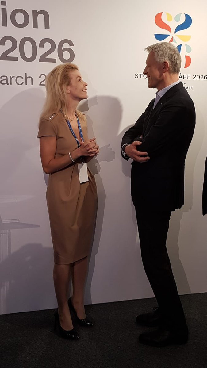 Stockholm Mayor Anna König Jerlmyr talking to IOC Evaluation Commission chair Octavian Morariu following her presentation during which she failed to fully back Stockholm Åre 2026 ©IOC
