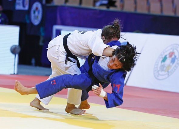Kosovo's Distria Krasniqi claimed the first gold medal of the day ©IJF