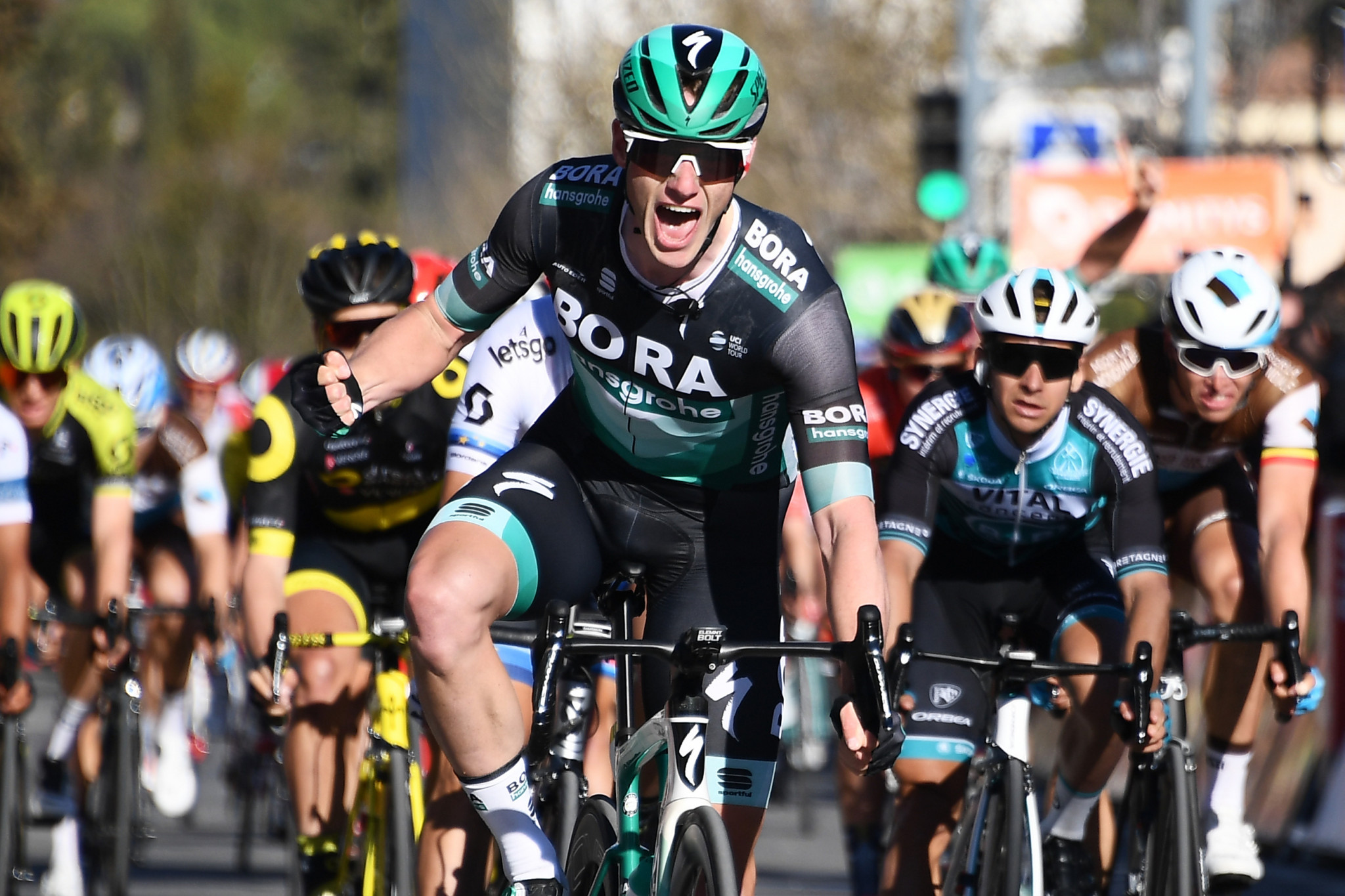 Ireland's Sam Bennett celebrates his second stage win in the Paris-Nice race ©Getty Images