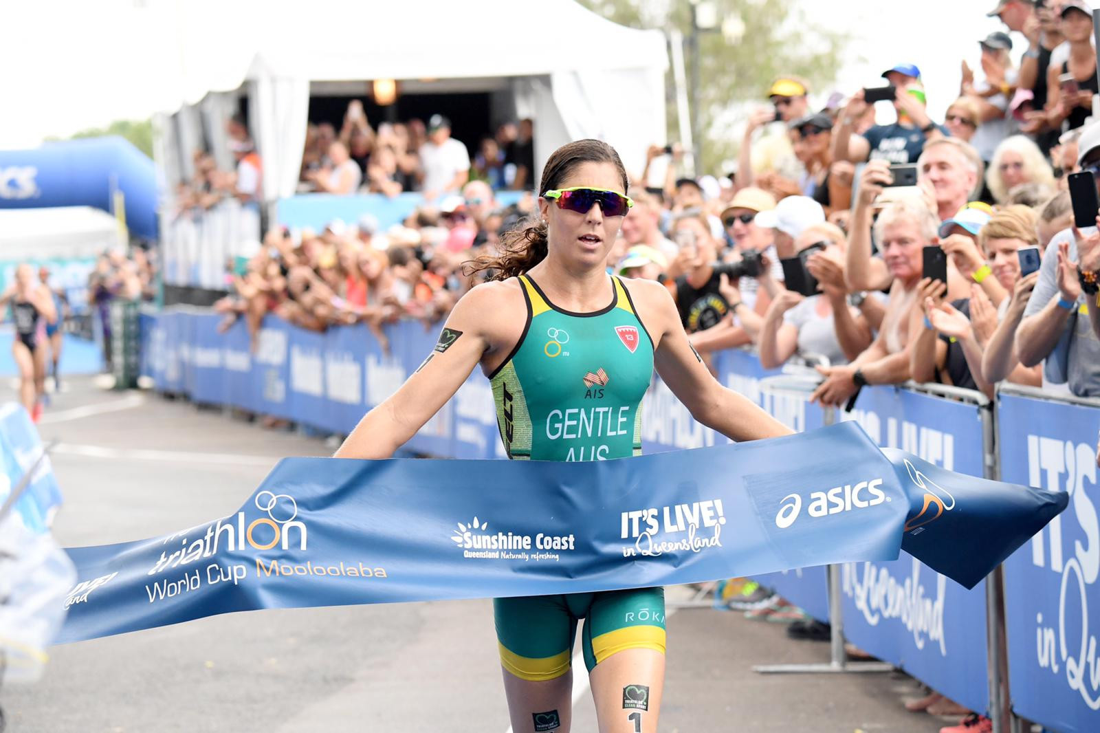 Gentle golden again on home soil as she takes ITU World Cup title in Queensland's Mooloolaba
