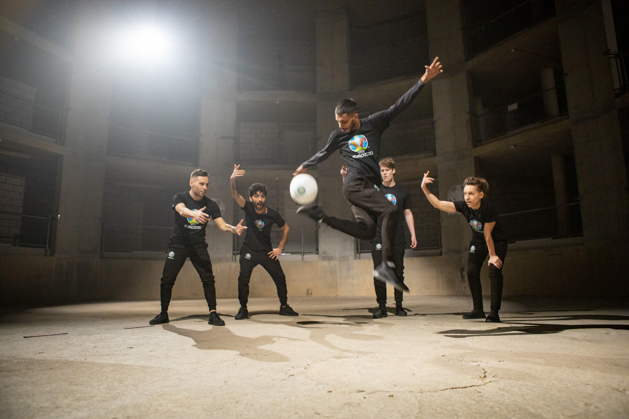 The video features several freestyle footballers performing their best tricks in a derelict building ©UEFA